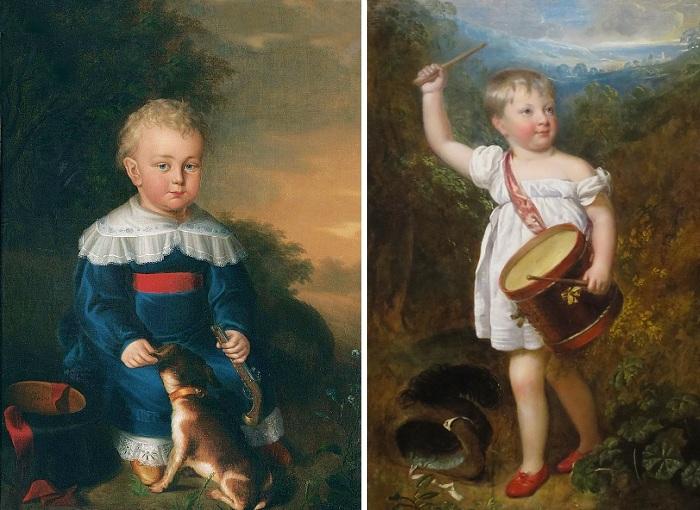 «Портрет маленького мальчика с игрушечным пистолетом и собакой». Автор: Дэвид Лудерс. / «Портрет Уильяма Эллиса Гослинга». Автор: Генри Уильям Бичи.