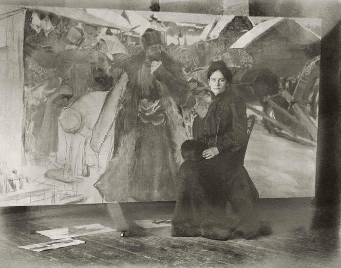 «Юлик у моей конкурсной картинки». 1903 год. Кустодиев Борис Михайлович.