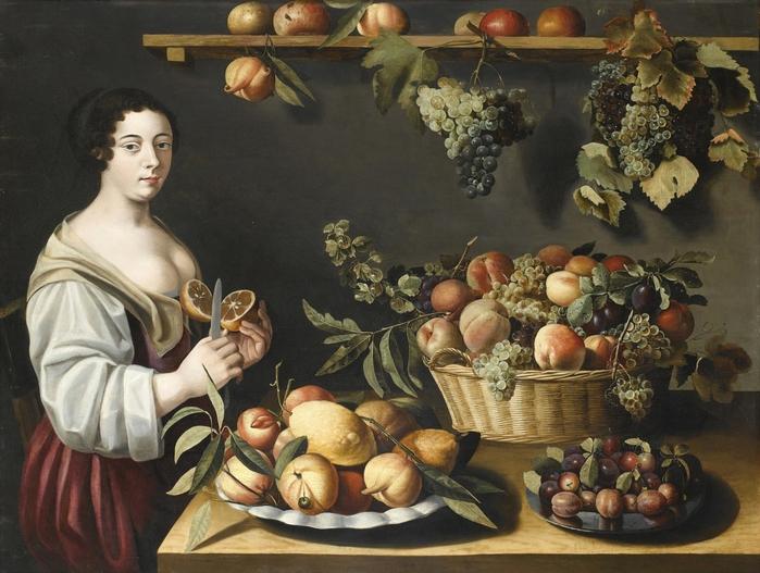Натюрморт с фруктами и молодой служанкой. 97 х 125.5 Дерево, масло. Частное собрание.  Автор: Луиза Муайон.
