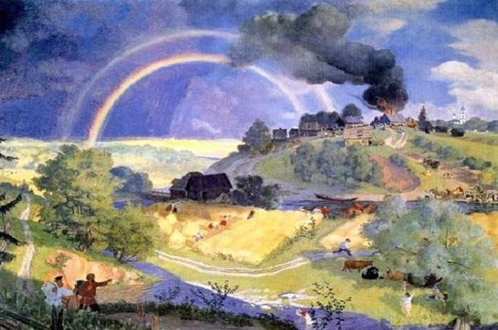 После грозы. 1921 год. Автор: Борис Кустодиев.