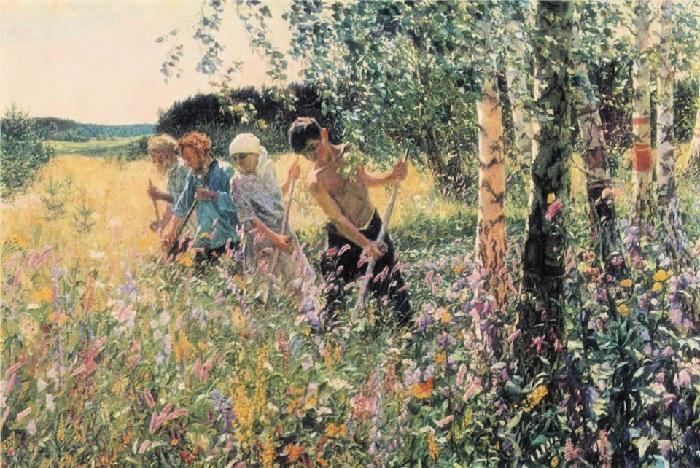 «Сенокос». (1945 год). Третьяковская галерея. Автор: А.А.Пластов.