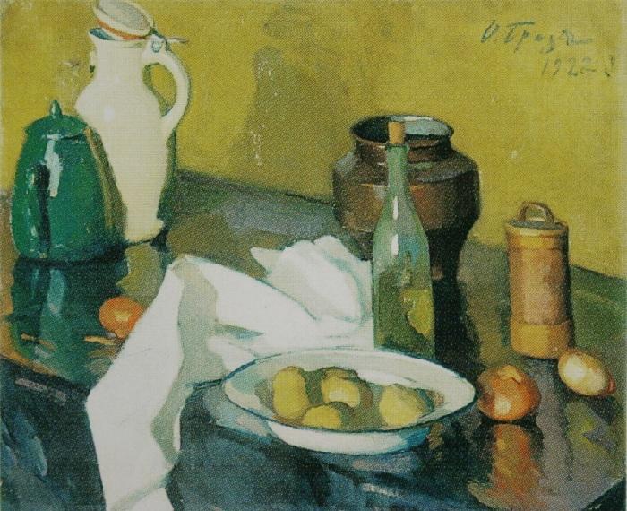 Натюрморт с белой салфеткой. (1922 год). Автор: Осип Эммануилович Браз.