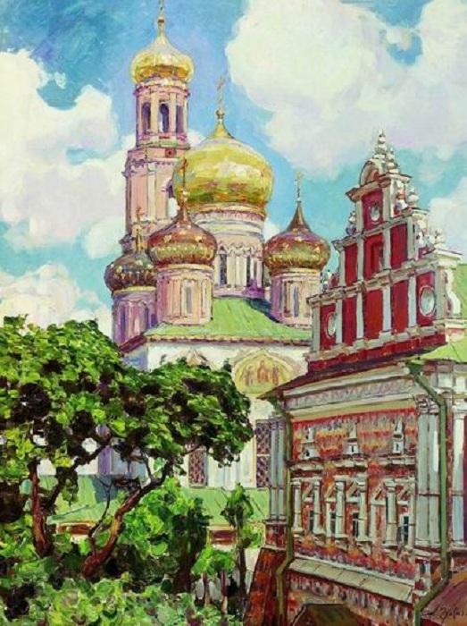 «Симонов монастырь. Облака и золотые купола» (1927). Автор: Аполлинарий Васнецов.