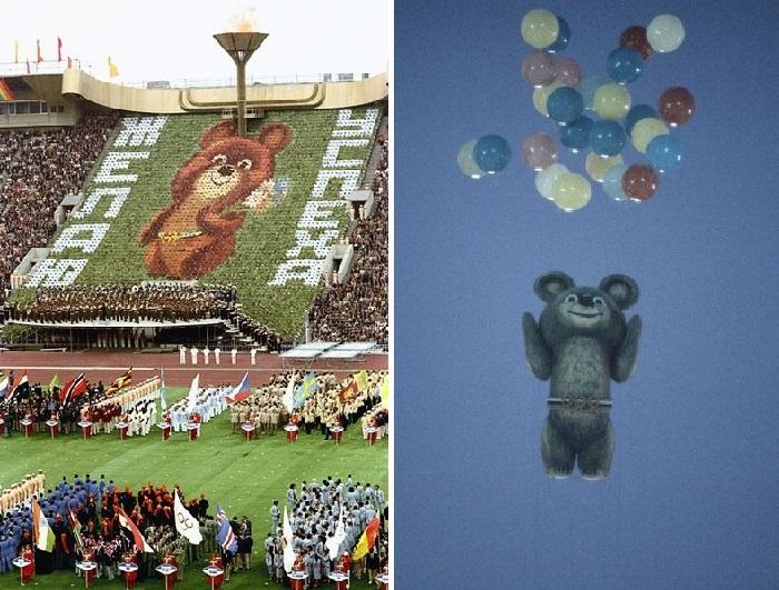 Медвежонок Миша над стадионом Олимпийского комплекса в Лужниках.
