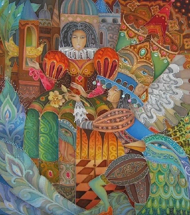 «Предложение руки и сердца».  Холодный батик. Автор: Любовь Тощева.