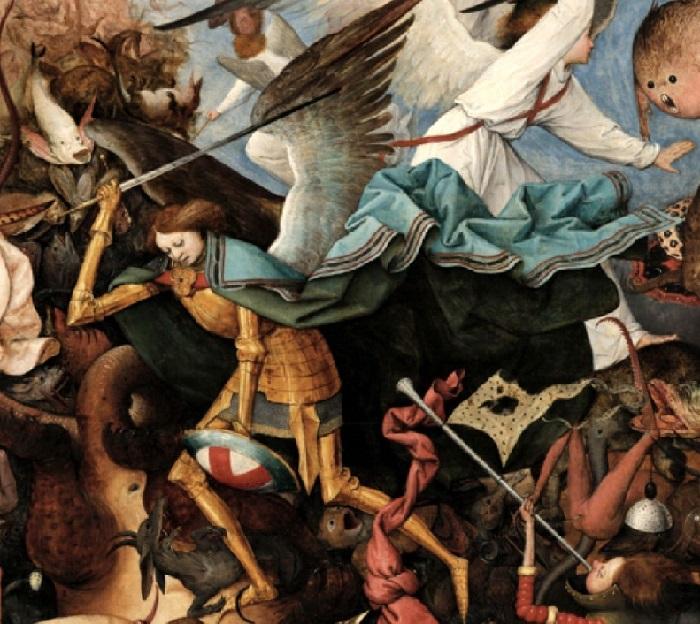 «Падение мятежных ангелов». Фрагмент. (Архангел Михаил в золотых доспехах и сине-бирюзовом плаще  повергнул с помощью меча семиглавого дракона.)