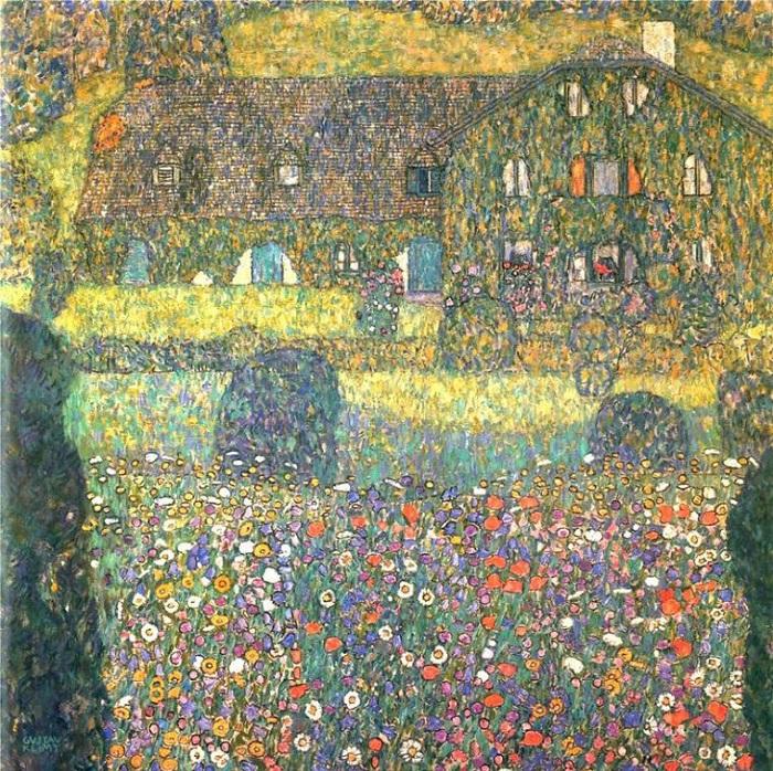 Деревенский дом в Аттерзе. (1911 год).  Автор: Gustav Klimt.