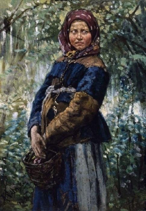 Крестьянка с корзинкой в лесу. Автор: К.А.Савицкий.