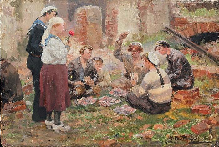 Игра в карты. (1922).  Автор: Иван Владимиров.