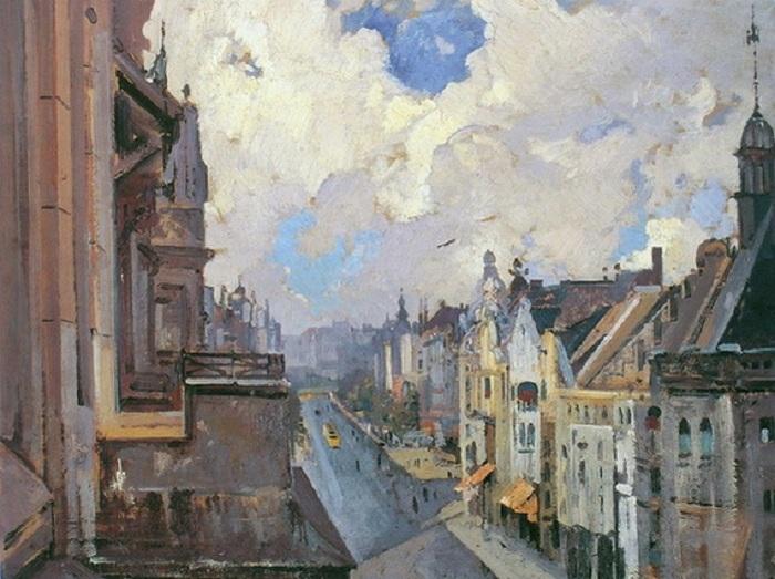 Улица в Берлине. (1920 год). Автор: Иван Мясоедов.