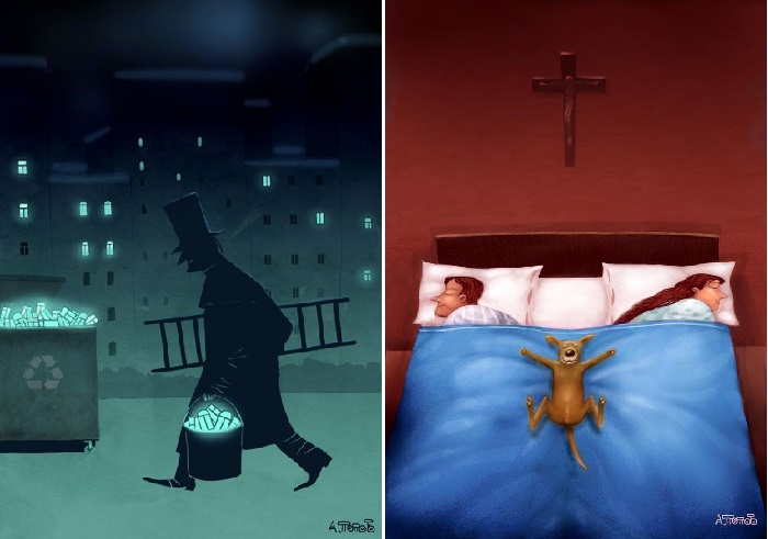 Спокойной ночи. / Сладкие сны. Карикатуры Андрея Попова. | Фото: dotart.info/ru.