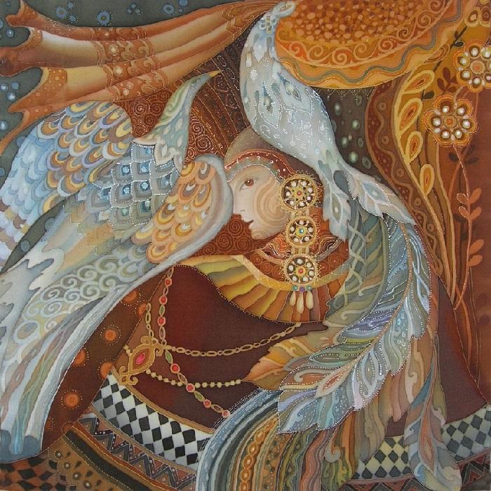 «Две птицы». Роспись по шелку (батик). Автор: Любовь Тощева.