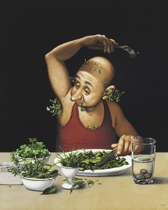 Вегетарианская диета. Сатира от Gerhard Haderer.
