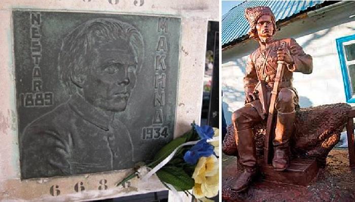 Захоронение на кладбище Пер-Лашез./ Памятник на родине атамана.