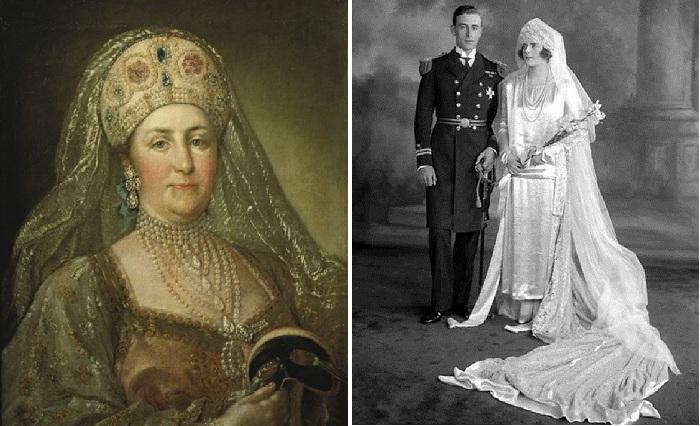 Екатерина II- русская императрица в карнавальном русском костюме. / Английская королева Мария, бабушка королевы Елизаветы II в подвенечном наряде.