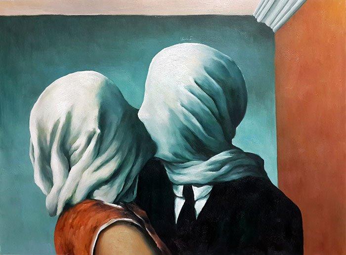 «Поцелуй».  (1957 год). Автор: Рене Магритт.
