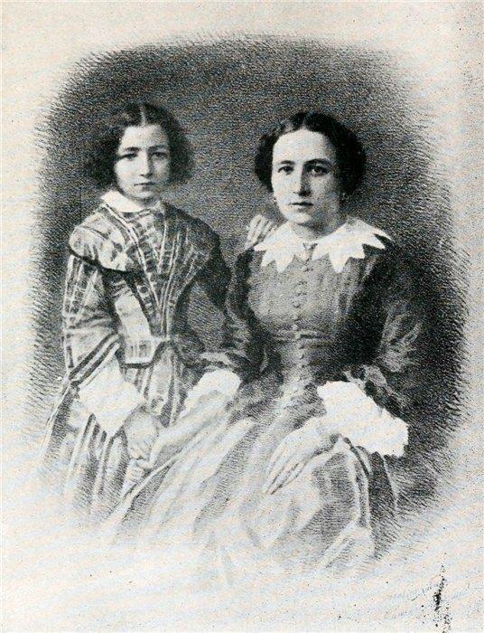 Сара Бернар с матерью.