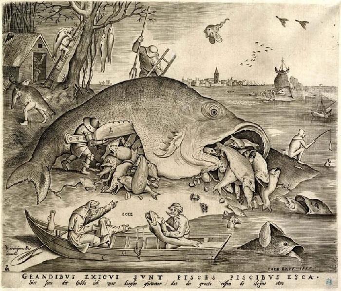 Питер Брейгель. Большая рыба поедает маленькую. Гравюра. Питер Брейгель Старший.
