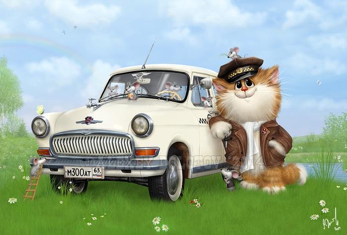 Эх, прокачу! Кошачий арт от Алексея Долотова.