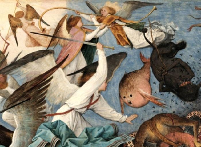 «Падение мятежных ангелов». Фрагмент. (Светлые ангелы ожесточенно сражаются с темным войском восставших монстров.)