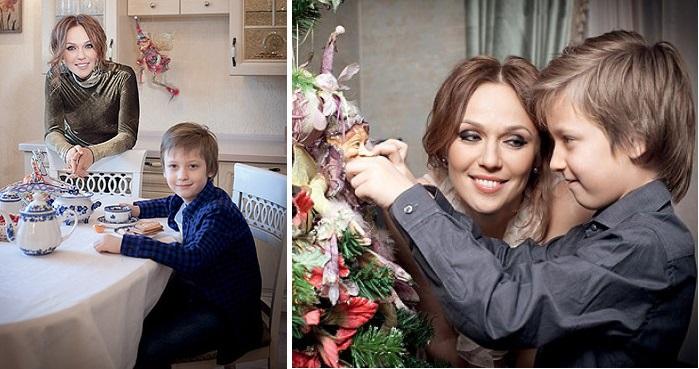 Альбина Джанабаева с сыном Лукой.