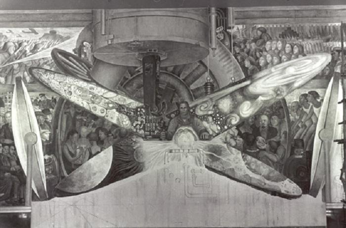«Человек на перепутье, смотрящий с надеждой на выбор нового и лучшего будущего». Неоконченная фреска. Нью-Йорк. Автор: Диего Ривера.