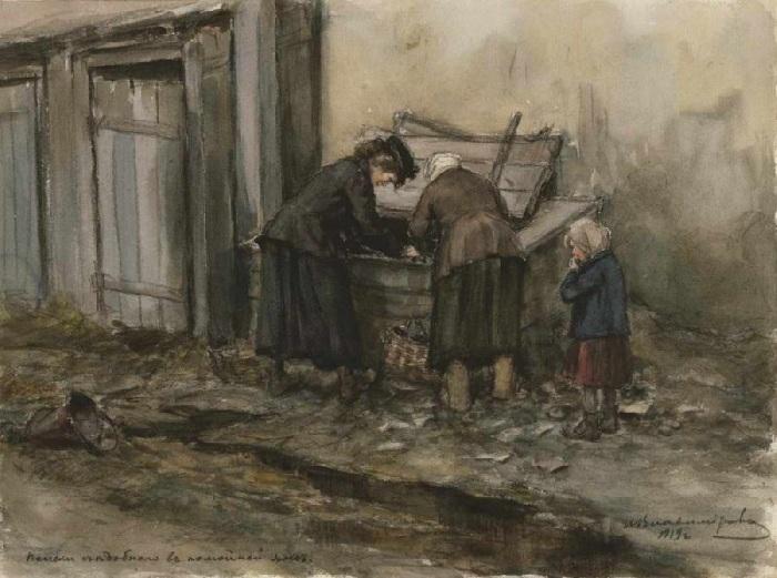 Поиски съедобного в помойной яме (1919).  Автор: Иван Владимиров.