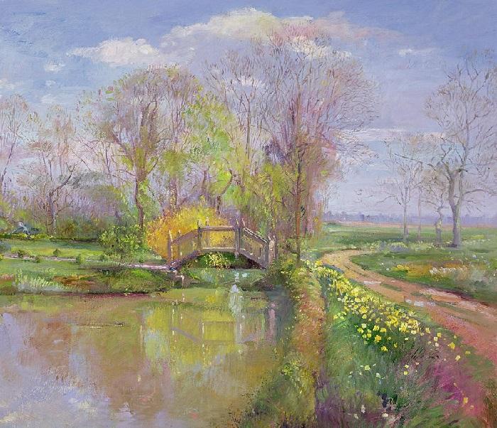 Весенний пейзаж с мостом (Spring Bridge). Художник: Timothy Easton.