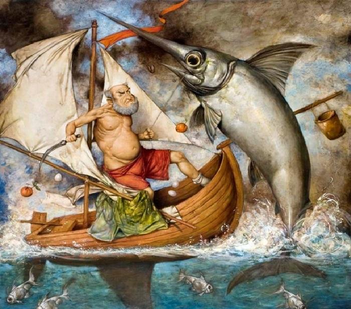 Старик и море. Живопись Тарона Мурадяна.