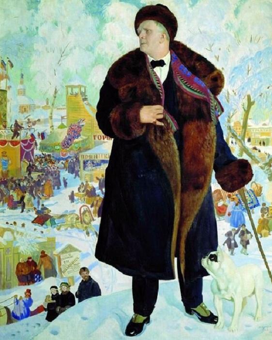 «Портрет Федора Шаляпина». 1922 год. Художник Б. М. Кустодиев.