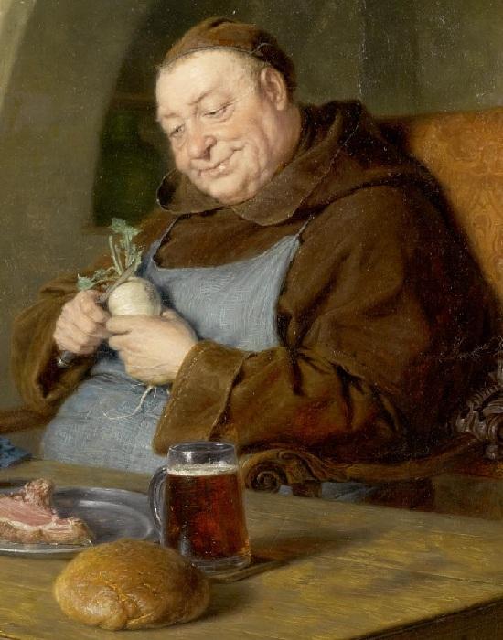Сидящий монах за столом. Автор: Эдуард фон Грютцнер.