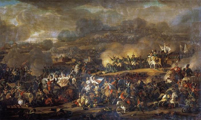 Сражение под Лейпцигом 16 октября 1813 года. (1815). Автор: Мошков Владимир Иванович (1792—1839).