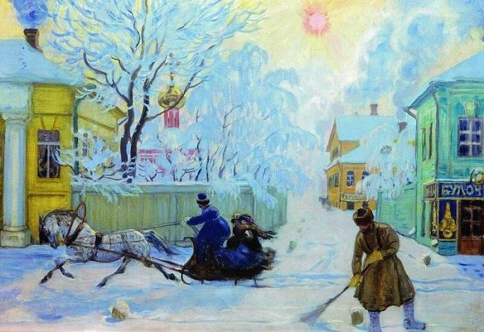 «Морозный день». 1913 год. Художник Б. М. Кустодиев.