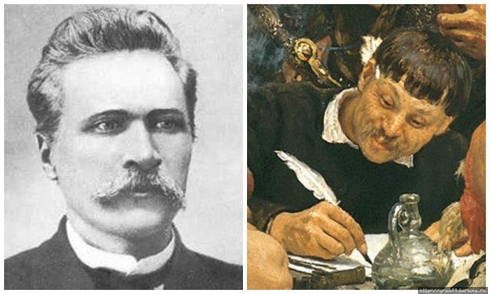 Д.Яворницкий - известный украинский историк и этнограф, исследователь запорожского казачества, главный консультант Репина, модель для написания образа писаря.