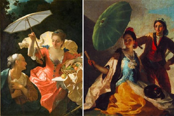 Автор: Джин Рэнс «Вертумн и Помона» (1710). / Автор: Франсиско Гойя «Зонтик» (1788).