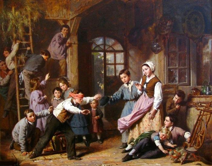 Пьер Жан Эдмон Кастан (француз, 1817–1892). «Blindmans Buff»