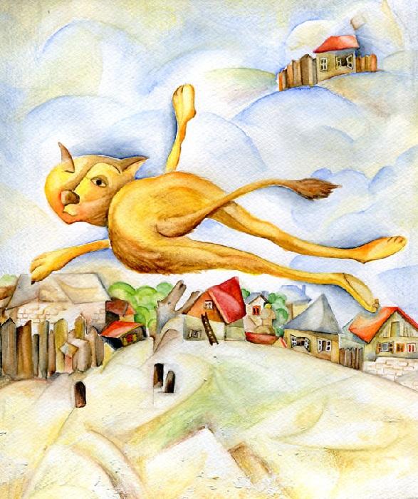 Кот в стиле Марка Шагала.
