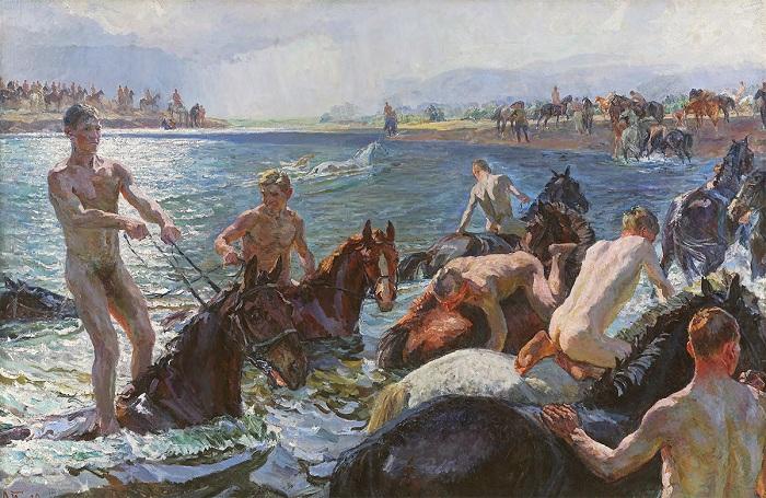 «Купание коней». (1938 год). Государственный Русский музей. Автор: А.А.Пластов.