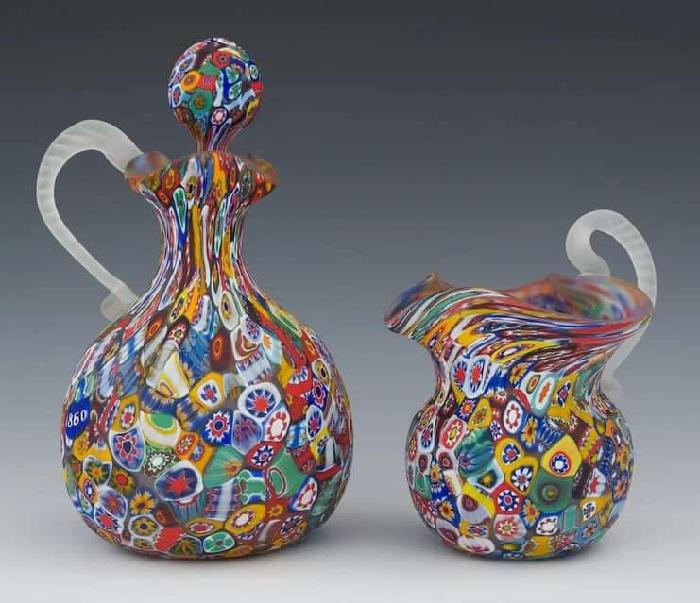 Изделия из муранского стекла выполненные в стиле миллефиори.