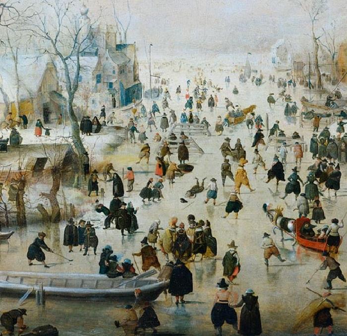 Зимний пейзаж с жителями, катающимися на льду. (Фрагмент 2)