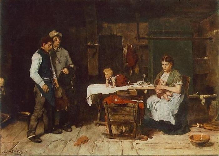 «Пьяница-муж». (1872 год). Автор: Михай Мункачи.