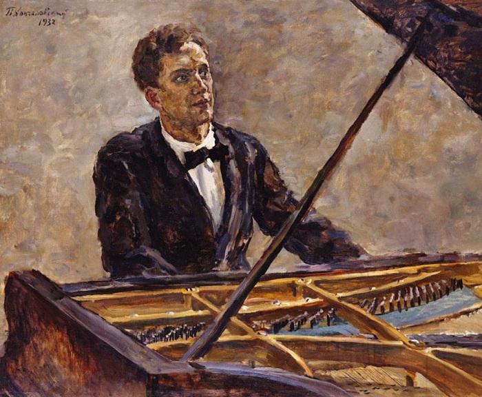 Портрет пианиста В.В. Софроницкого за роялем. 1932 год. Автор: П. П. Кончаловский.