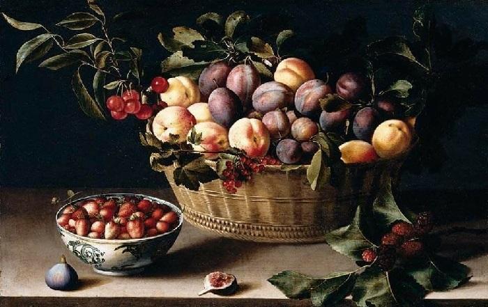 Натюрморт с корзиной фруктов. Автор: Луиза Муайон.