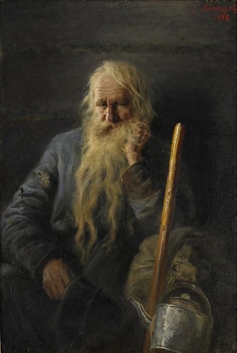 Портрет бородатого крестьянина с посохом и жестяным чайником. 1898 год. Частная коллекция. Автор: Г.Г. Мясоедов.