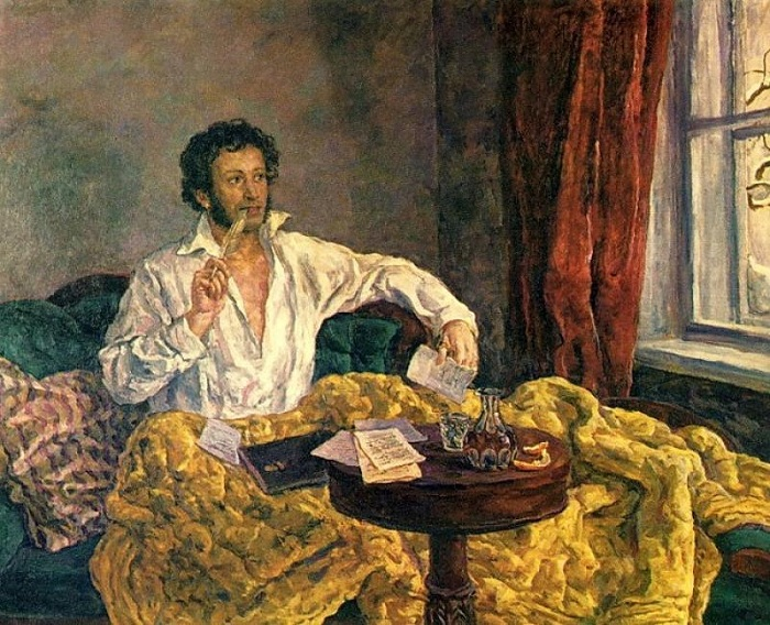 Пушкин в Михайловском. 1940 год.  Автор: П. П. Кончаловский.