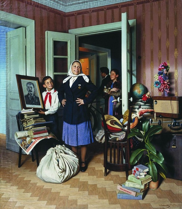 Переезд на новую квартиру. 1952 год.. Автор: Александр Лактионов.