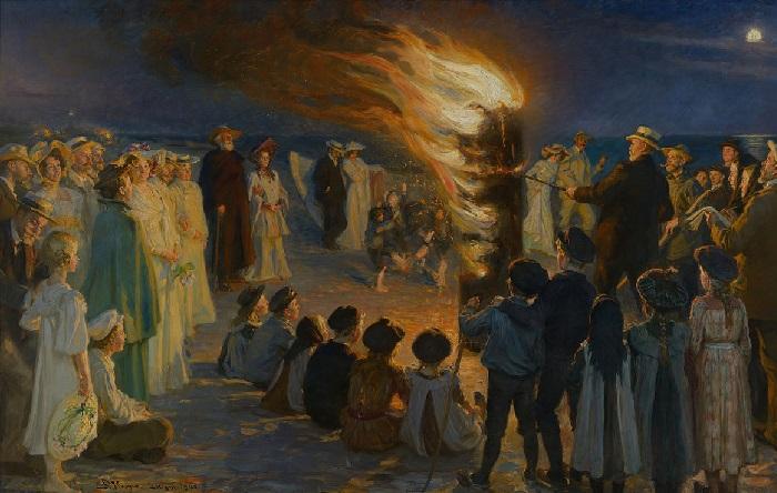 «Костёр Святого Иоанна на пляже Скагена»  (1903год). Художник Педер Северин Крёйер.