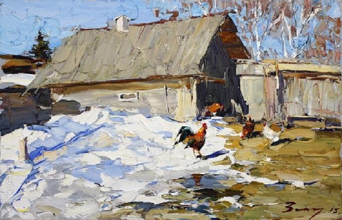 Март в деревне. Импрессионизм от Андрея Захарова.