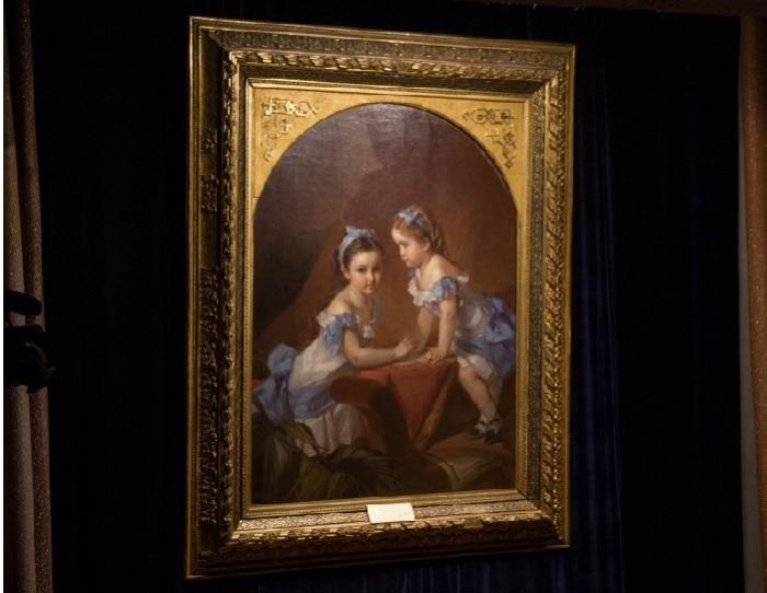 «Девочки-сёстры (Портрет Лизы и Наташи Араповых)» (1879 год). Автор: К. Макаров.