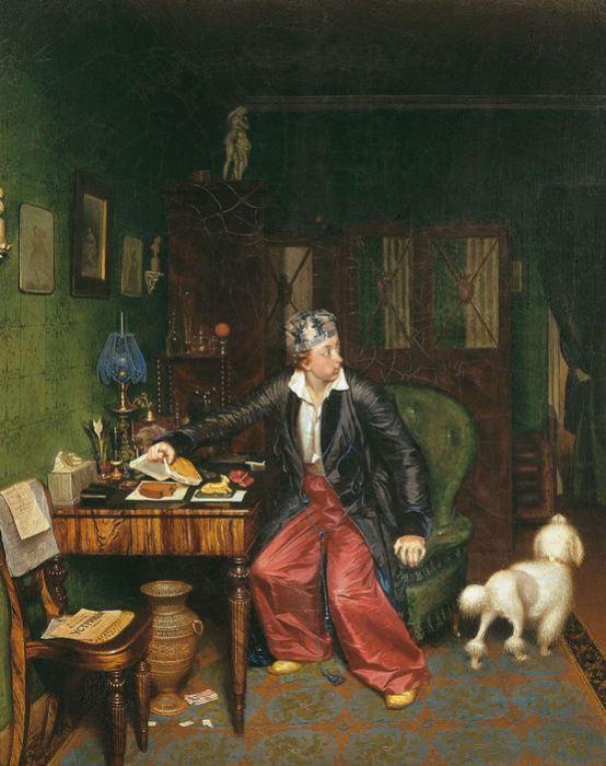 «Завтрак аристократа». (1849-1850). Автор: П. Федотов.